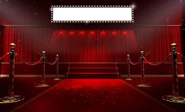 3d-rendering hintergrund mit einem roten vorhang und einem scheinwerfer. festival night show plakat. offenen roten vorhang. premiere veranstaltungsplakat - film oder fernsehvorführung stock-fotos und bilder