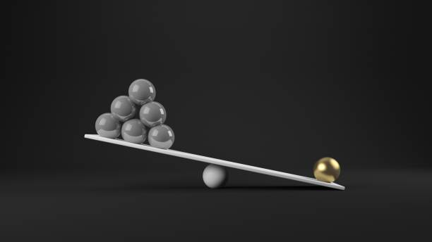 3d rendering of balance concept - imbalance stock photos and pictures