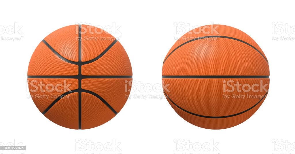 3d rendering of basketballs shown in different view angles on a white background. stock photo