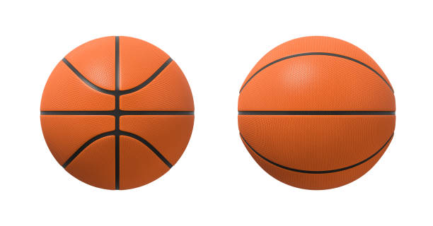 3d rendering of basketballs shown in different view angles on a white background. 3d rendering of basketballs shown in different view angles on a white background. Team sport. Scoring game points. Net games. basketball ball stock pictures, royalty-free photos & images