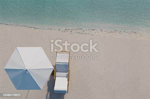 3d rendering of beach with chair and sunshade in top view