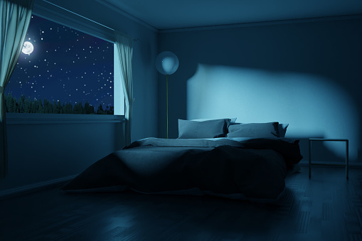 3d rendering of bedroom with made bed in the full moon night