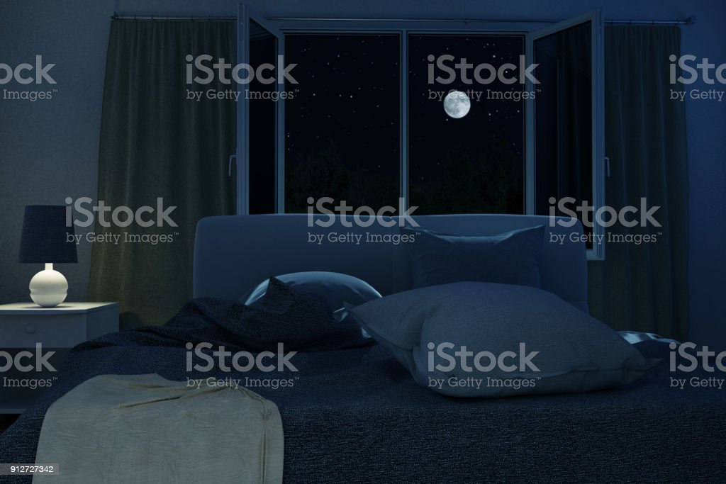 3d rendering of bedroom with unmade and rumpled bed in the full moon night stock photo