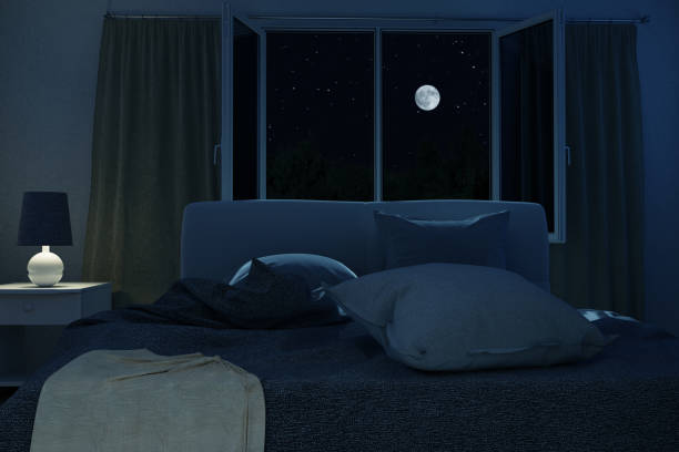 3d rendering of bedroom with unmade and rumpled bed in the full moon night - bedroom stock pictures, royalty-free photos & images