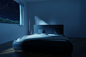 3d rendering of bedroom with unmade and rumpled bed in the stars night