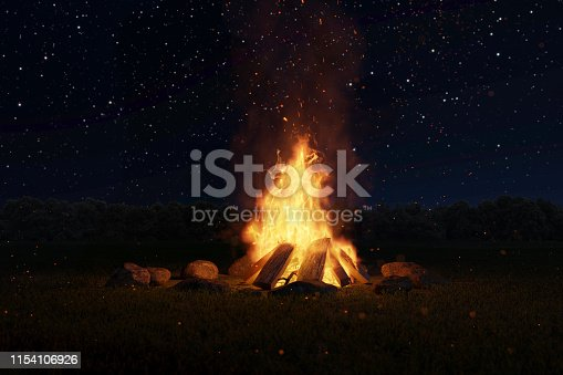 istock 3d rendering of big bonfire with sparks and particles in front of forest and starry sky 1154106926