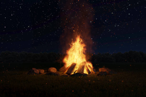 3d rendering of big bonfire with sparks and particles in front of forest and starry sky - falò foto e immagini stock