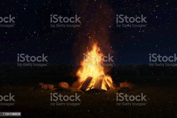 Photo of 3d rendering of big bonfire with sparks and particles in front of forest and starry sky