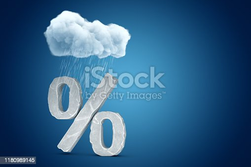 3d rendering of big stone percent symbol standing under cloud of pouring rain on blue copyspace background. Money and finance. Profit loss. Economy crisis.
