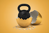 istock 3d rendering of black 24 kg kettlebell that just hatched out from golden egg. 1182637308