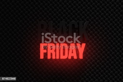 istock 3d rendering of black friday banner with fabric background and neon light friday writing 874622946