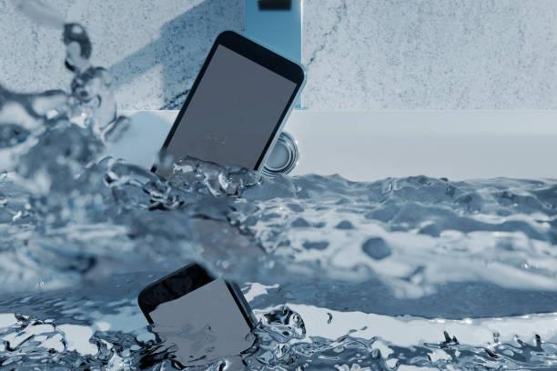 3d-rendering van zwarte mobiele telefoon vallen voor wastafel en bruisend water - cell phone toilet stockfoto's en -beelden