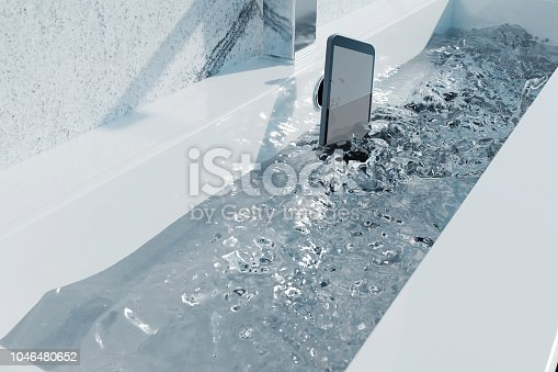istock 3d rendering of black smartphone falling into washbasin and sparkling water 1046480652