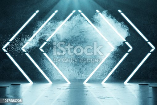 1039536404istockphoto 3d rendering of blue lighten geometric shape lines in front of grunge wall background and light beam 1017580206