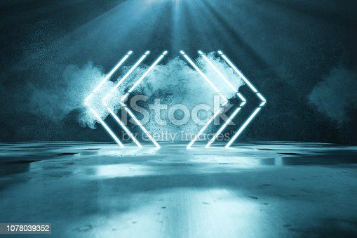 1039536404istockphoto 3d rendering of blue lighten geometric shape lines in front of grunge wall background and light beam 1078039352