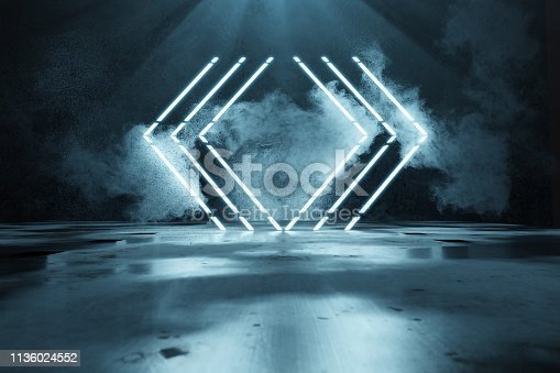 1039536404istockphoto 3d rendering of blue lighten geometric shape lines in front of grunge wall background and puddles 1136024552