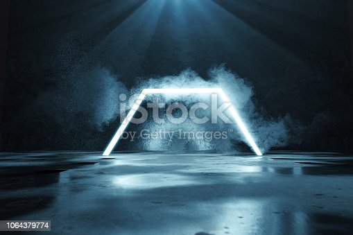 1039536404istockphoto 3d rendering of blue lighten half hexagon shape in front of grunge wall background and floor with puddles 1064379774