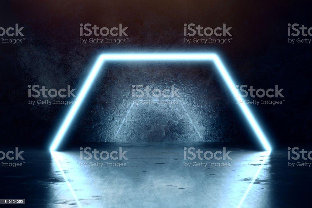 3d rendering of blue lighten hexagon and grunge wall background stock photo
