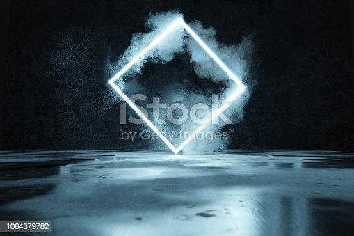 1039536404istockphoto 3d rendering of blue lighten square shape in front of grunge wall background and floor with puddles 1064379782