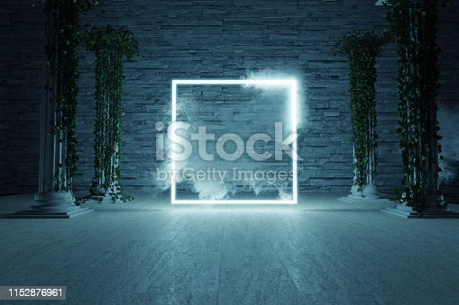 1039536404istockphoto 3d rendering of blue lighten square shape surrounded by columns with ivy leaves against stone wall 1152876961