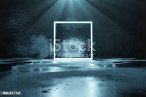 istock 3d rendering of blue lighten square shape with light beam and grunge wall background 1067417074