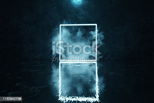 istock 3d rendering of blue lighten square shape with light spot and smoke clouds 1132842738