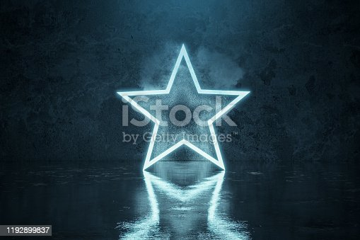 1039536404 istock photo 3d rendering of blue lighten star shape with light spot in front of grunge wall background with wet glossy floor 1192899837