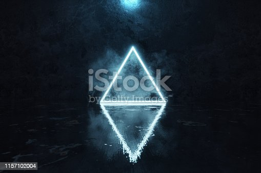 1039536404istockphoto 3d rendering of blue lighten triangle shape with light spot in front of grunge wall background with wet glossy floor 1157102004