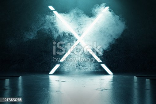 istock 3d rendering of blue lighten X alphabet shape in front of grunge wall background 1017320258
