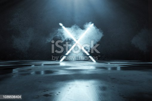 istock 3d rendering of blue lighten X alphabet shape in front of grunge wall background and floor with puddles 1039536404