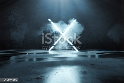 istock 3d rendering of blue lighten X alphabet shape in front of grunge wall background and floor with puddles 1040574560