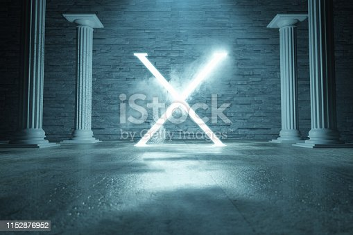 1039536404istockphoto 3d rendering of blue lighten X alphabet shape surrounded by columns against stone wall 1152876952