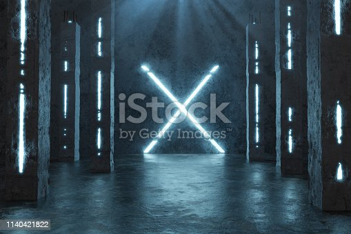 istock 3d rendering of blue lighten X shape next by concrete pillars and grunge floor with puddles 1140421822