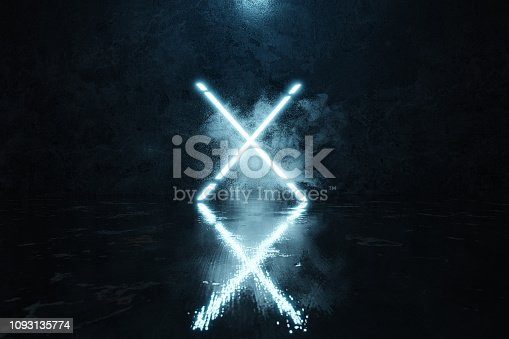 istock 3d rendering of blue lighten X shape with light spot in front of grunge wall background with wet glossy floor 1093135774