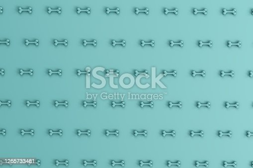istock 3d rendering of bones for dog on the turquoise background. 1255733481