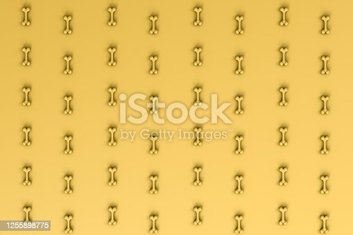 istock 3d rendering of bones for dog on the yellow background. 1255898775