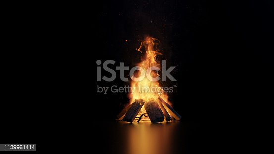 istock 3d rendering of bonfire with sparks and particles 1139961414
