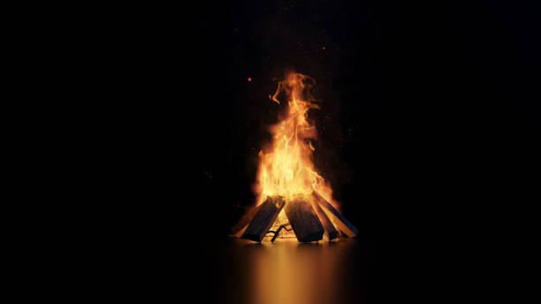 3d rendering of bonfire with sparks and particles 3d rendering of bonfire with sparks and particles bonfire stock pictures, royalty-free photos & images