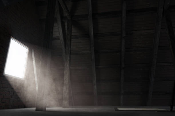 3d rendering of brighten attic with light rays at window 3d rendering of brighten attic with light rays at window attic stock pictures, royalty-free photos & images