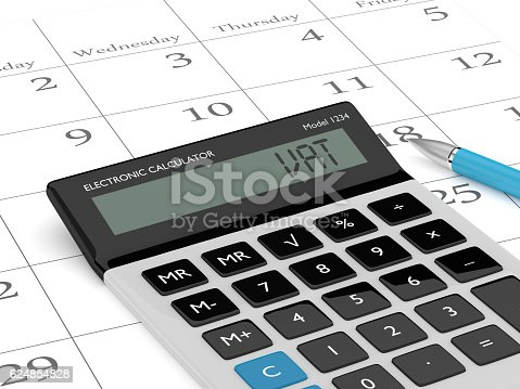 istock 3d rendering of calculator wit vat text and calendar 624854828