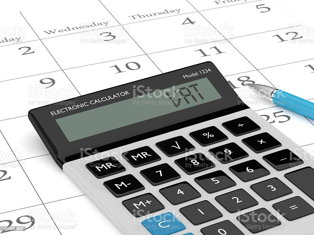 3d rendering of calculator wit vat text and calendar stock photo