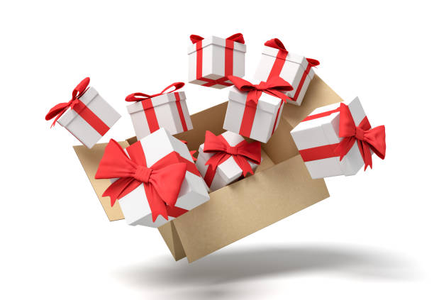 3d rendering of cardboard box flying in air full of gift boxes.