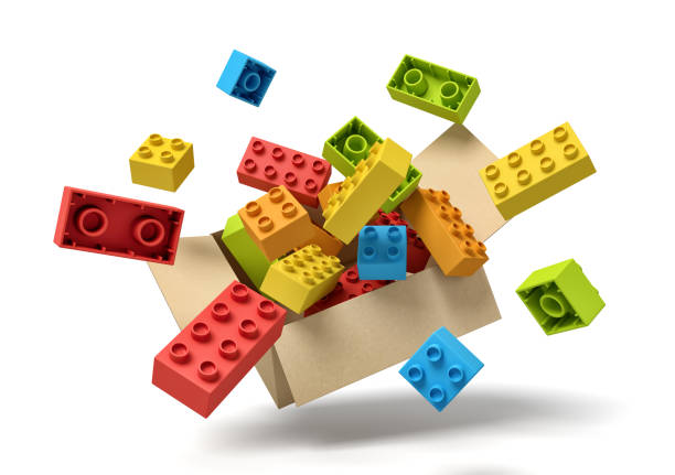 3d rendering of cardboard box in air full of colorful toy bricks which are flying out and floating outside.