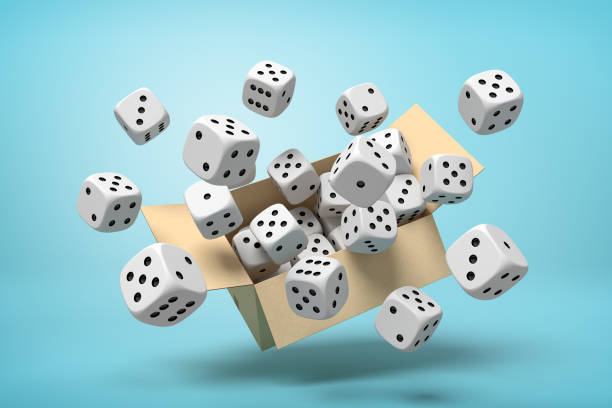 3d rendering of cardboard box in air full of white dice with black spots which are flying out and floating outside on blue background.