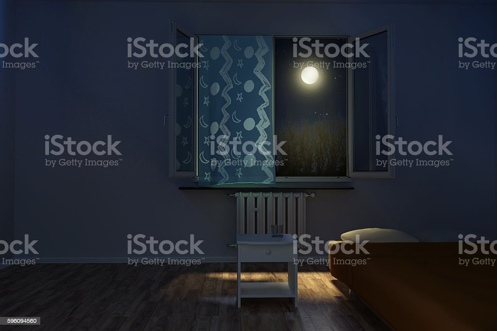 3d rendering of children's room at night royalty-free stock photo