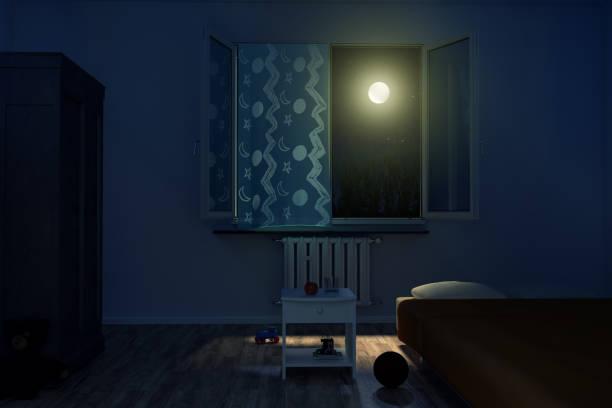 3d-rendering van kinderkamer bij nacht - sleeping illustration stockfoto's en -beelden