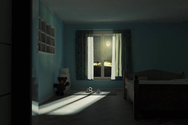 3d-rendering van kinderkamer 's nachts met glanzende heldere maan - sleeping illustration stockfoto's en -beelden
