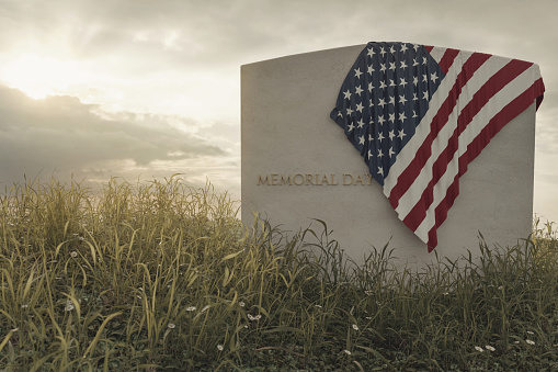 3d rendering of close up American flag laying on grave at the peaceful flower meadow to remember the memorial day