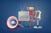 istock 3d rendering of collection of several pieces of vintage equipment: a TV, a radio set, a microphone and a megaphone. 1056306726