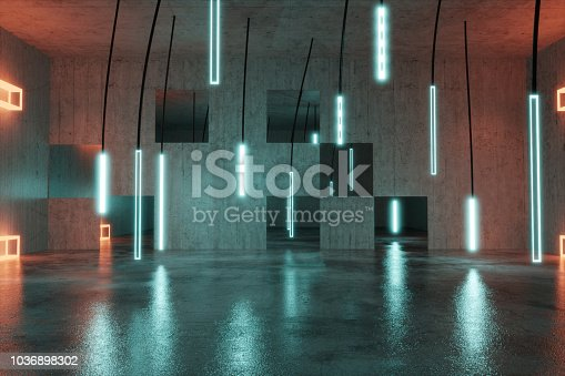 3d rendering of concrete background with illuminated hanging led panels